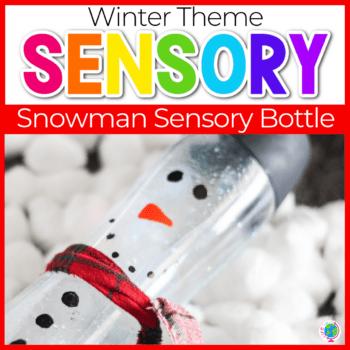 Snowman Sensory Bottles DIY featured image.