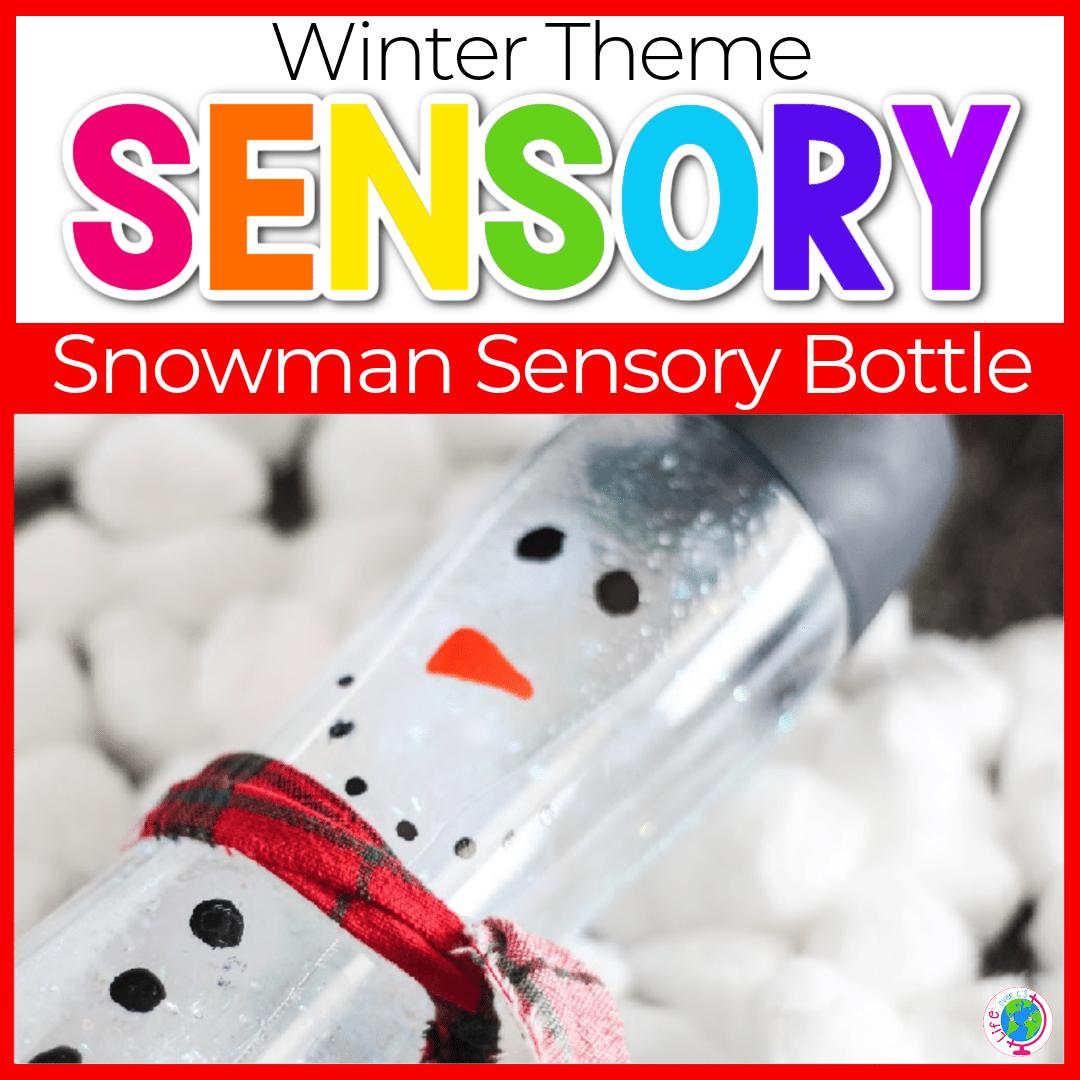 Snowman Sensory Bottles DIY for Preschoolers