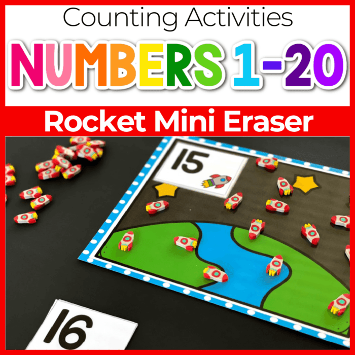 Counting rockets with mini erasers and counting mats.