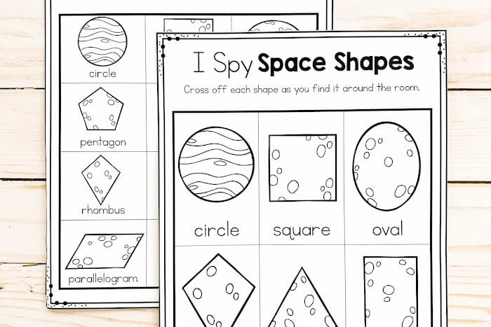 Overhead view of the 2D I Spy Space Shapes printable.