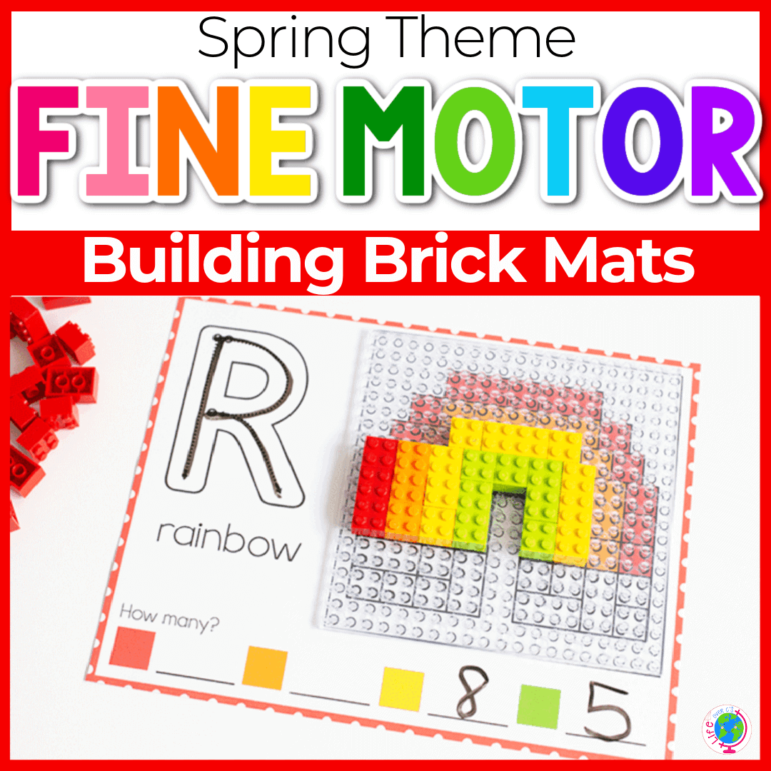 Spring Fine Motor Mats with LEGOs