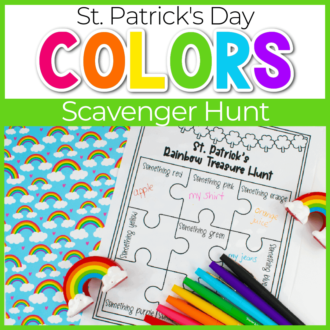 St. Patrick's Day Rainbow Color Scavenger Hunt for Kids