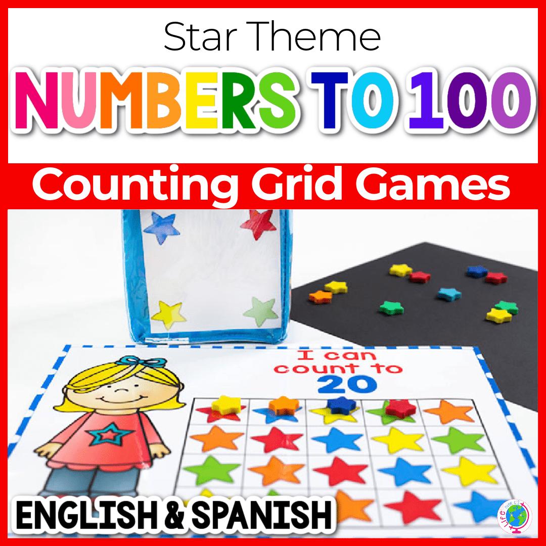 Star Mini Eraser Number Grid Game for Preschool