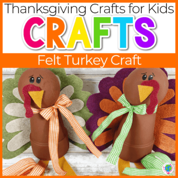 turkey craft for kids felt feathers and terra cotta pot body Featured Image