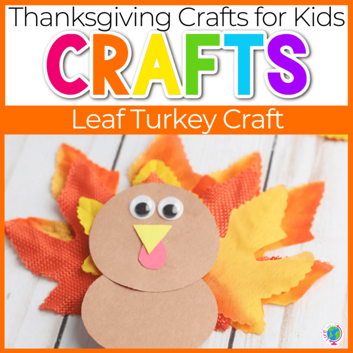 turkey craft for kids made with construction paper circles and leaves for the feathers Featured Image