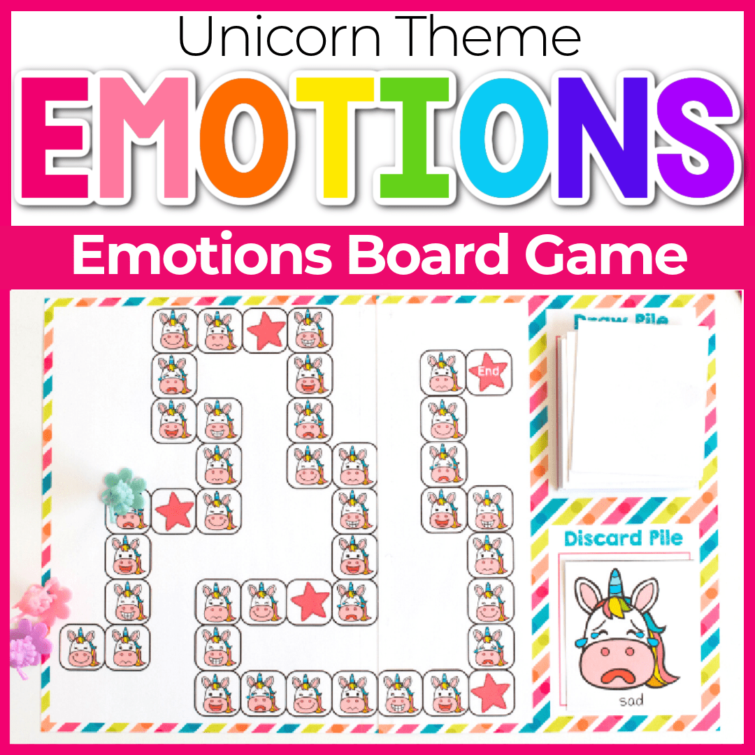 Printable Unicorn Emotions Preschool Emotions Board Game