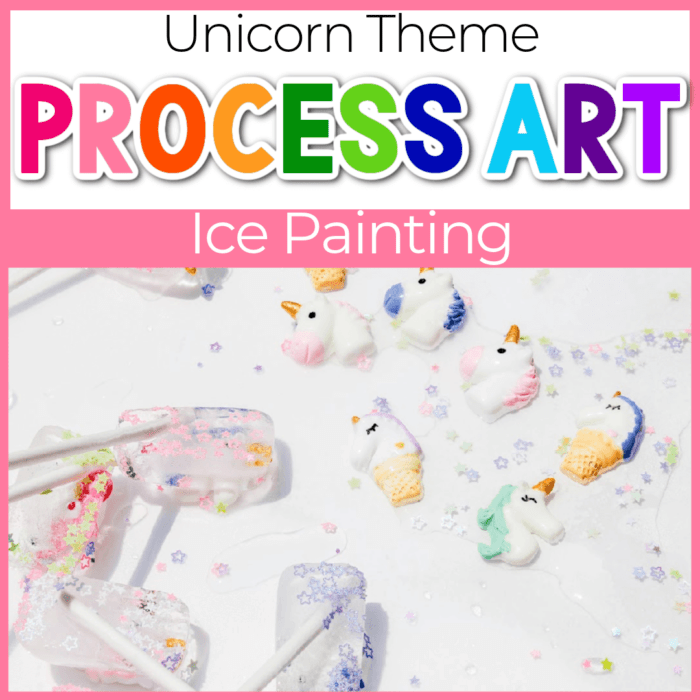 Unicorn Ice Cube Painting for preschoolers.