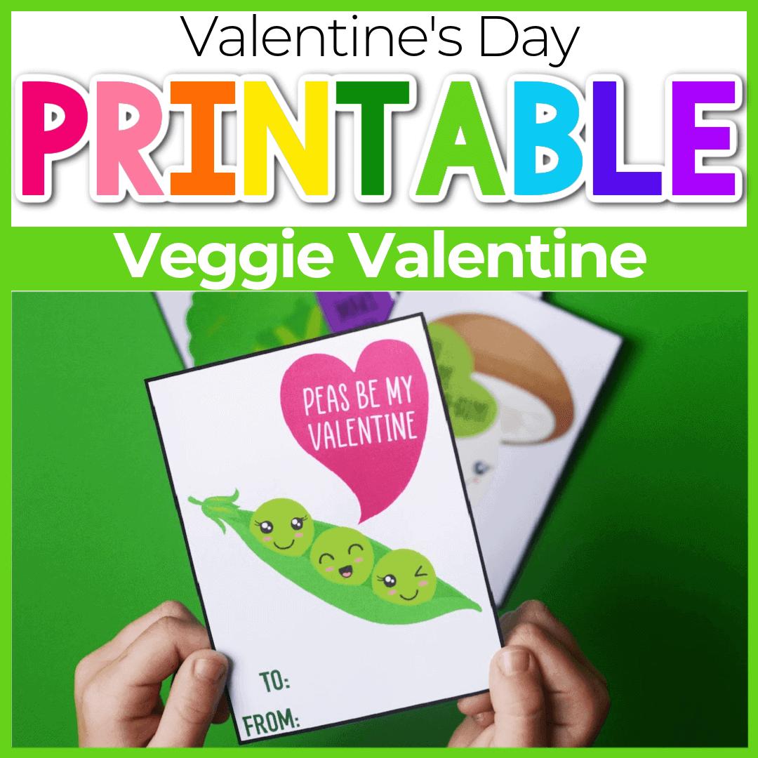 Veggie Cute Printable Valentine Cards for Kids