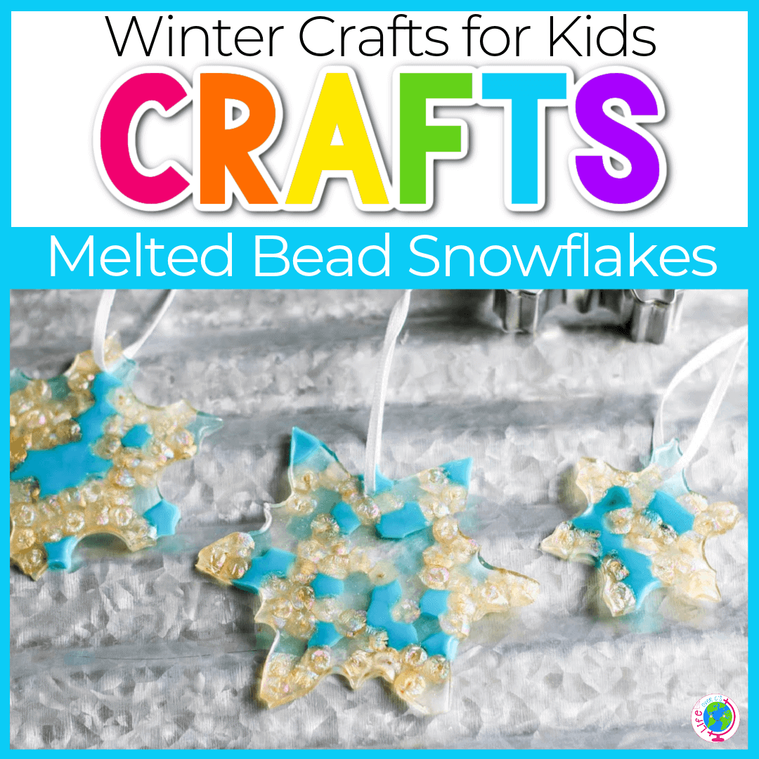 Snowflake Melted Bead Ornament Craft for Kids