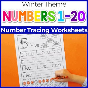 Winter Preschool Number Tracing Worksheets Featured Image