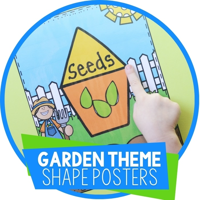Garden Theme Preschool Shape Posters and I Spy Game